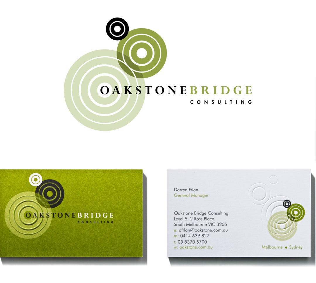 Mightyworld Oakstone Bridge consulting business card branding design