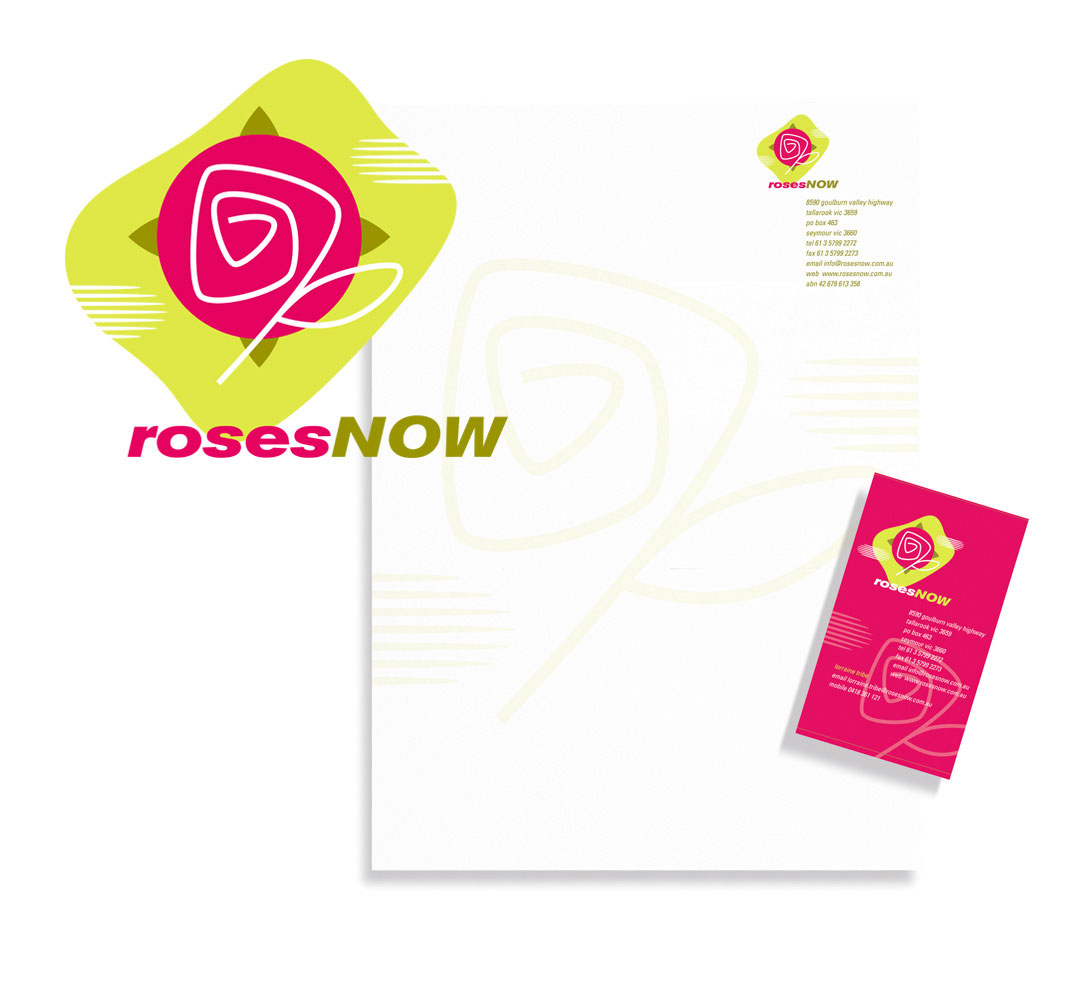 Mightyworld Roses Now logo stationary branding design