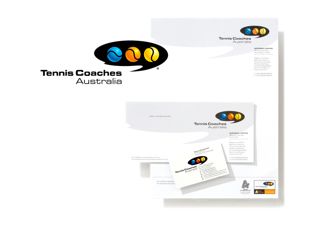 Mightyworld Tennis Coaches Australia stationary branding design