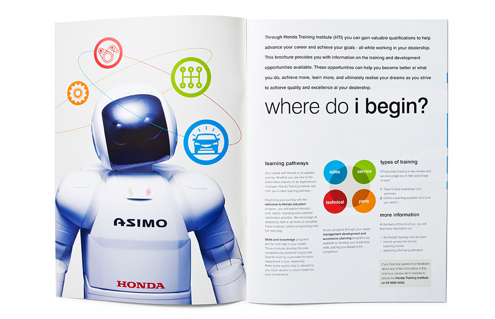 Mightyworld Honda Training Institute brochure print design
