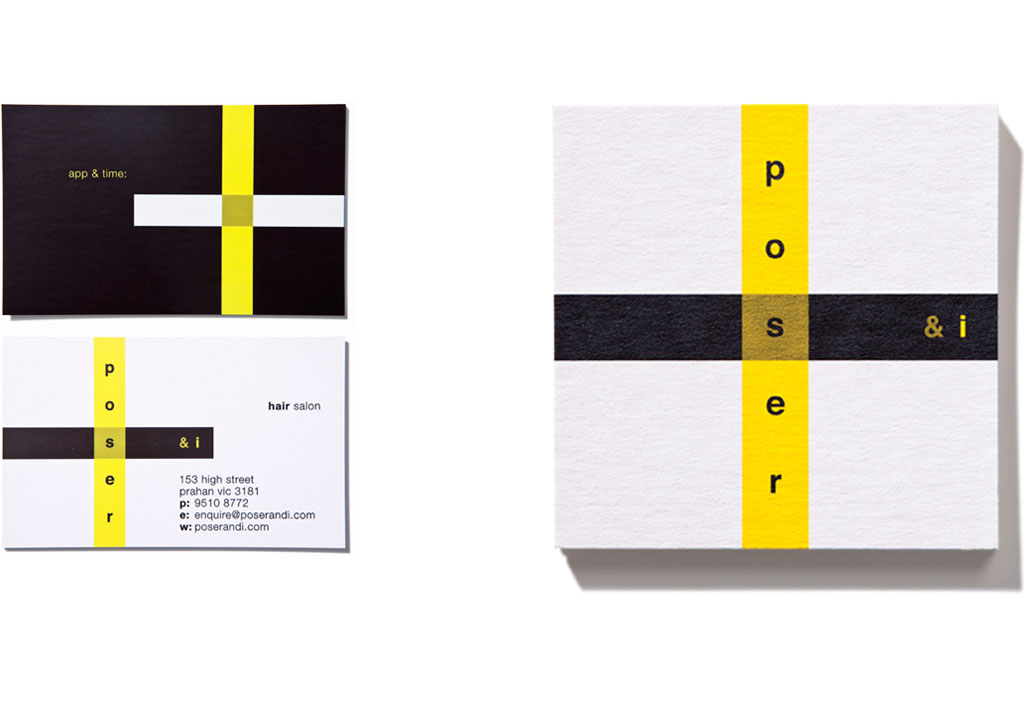 Mightyworld Poser & I branding business card design