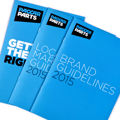 Mightyworld PACCAR Parts brand guidelines rebrand brochure design