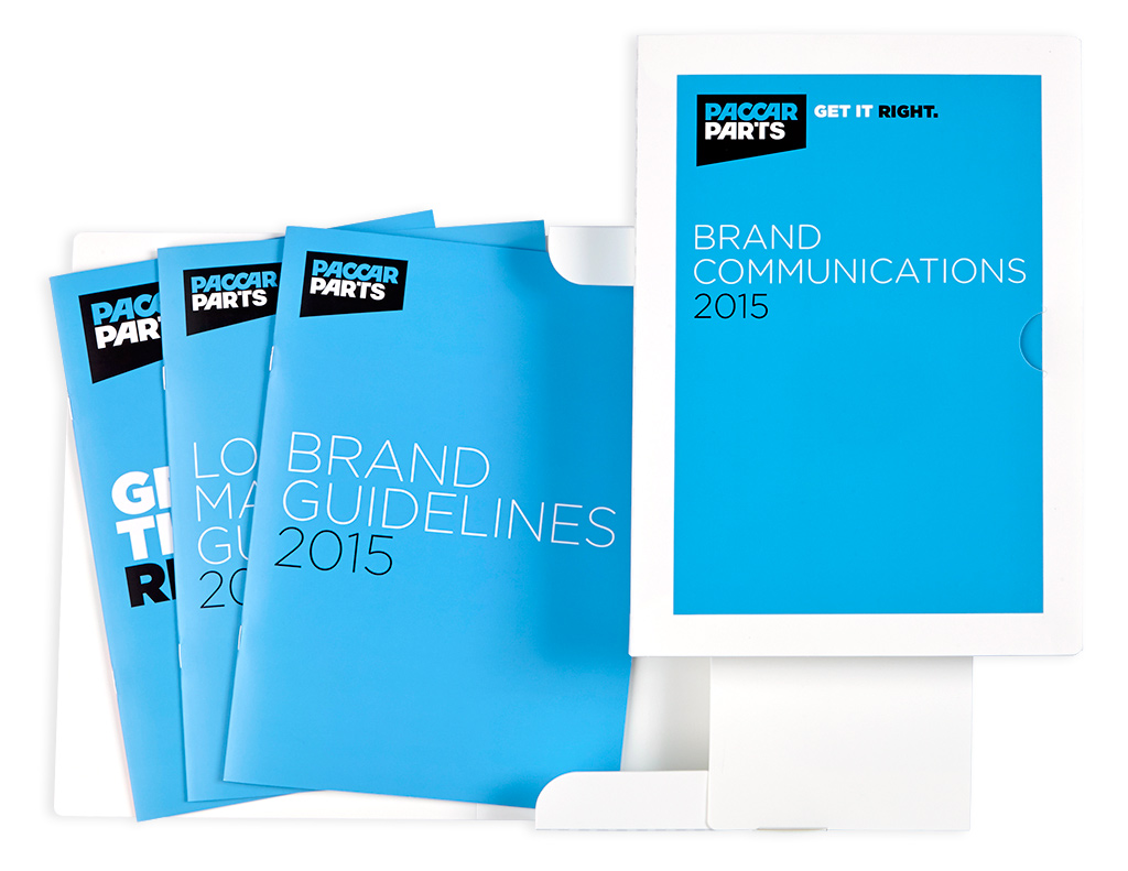 Mightyworld PACCAR Parts brand guidelines rebrand pack print brochure design